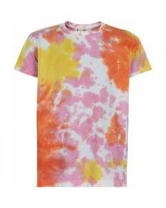 T-shirt, Tie dye - Rosa, gul og orange - The New