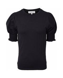 T-shirt m. smock ærmer - Sort - Hound