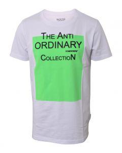 T-shirt - Hvid m. grøn neon - Hound