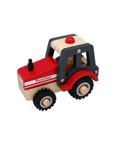 Traktor i træ m. gummihjul - Magni