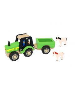 Traktor med trailer og heste i træ - Magni