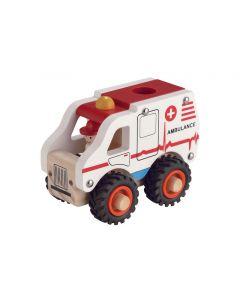 Ambulance i træ m. gummihjul - Magni
