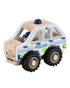 Politibil i træ m. gummihjul - Magni
