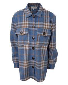 Skjorte jakke - Blå, brun - Pige - Hound