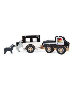 Bil med hestevogn og dyr i træ - magni