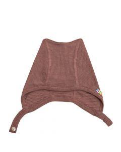 Hjelm m. tryk knap - Merino uld, silke - Mørk rosa - JOHA
