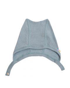 Hjelm m. tryk knap - Merino uld, silke - Denim blå - JOHA