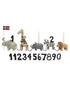 Fødselsdagstog, Safaridyr, m. 11 tal - Kids by Friis