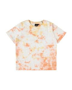 T-shirt, Kort, Tie Dye - Hvid-Orange - LMTD