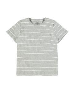 T-shirt - striber - Grå, hvid - Name it.