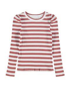 Bluse m. striber - Cerise rød, hvid - Name it.