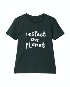 T-shirt- Respect our planet - Grøn - Name it.