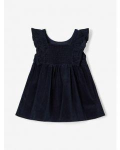 Kjole, mini fløjl - Navy - Name it