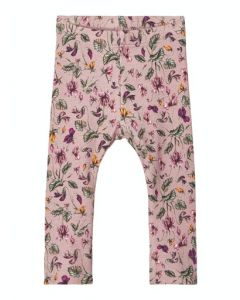 Leggings, rihne - Blomster, rosa - Name it
