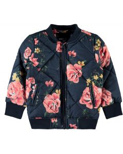 Bomber jakke - Navy m. blomster - Pige - Name it.