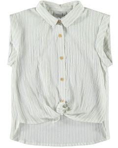 Skjorte m. bindebånd - Lys blå - Pige - Name it.