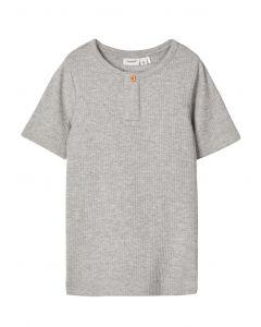 T-shirt, rib m. korte ærmer - Grå - Name it.
