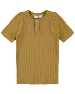 T-shirt, rib m. korte ærmer - Brun - Name it.