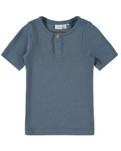 T-shirt, rib m. korte ærmer - Blå - Name it.