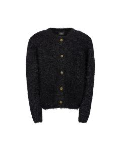 Strik cardigan m. guld kapper - Sort - Petit by Sofie Schnoor.
