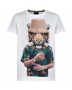 T-shirt, Tiger Cap - Hvid - Dreng - The New