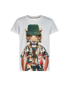 T-shirt, Løve m. bøllehat - Hvid - The New
