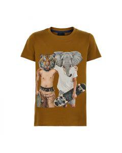 T-shirt - Skater tiger og elefant - Brun - The New