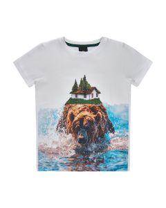 T-shirt m. bjørn - Hvid - The New