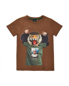 T-shirt, Tiger m. skateboard - Brun - The New